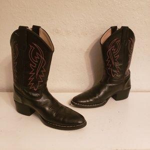 Old West Boys Cowboy Western Boots Sz 4
